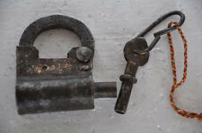 Old Iron Unique Shape Handforged Solid Screw Padlock , Rich Patina