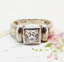 Vintage / Sterling Silver Square Cut Crystal Band Ring / Celtic / Size J Pinkie