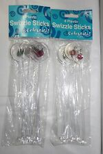 16 COCKTAIL PARTY SWIZZLE STICKS Plastic Stir Olive Cherry Casino Drink Chic NEW