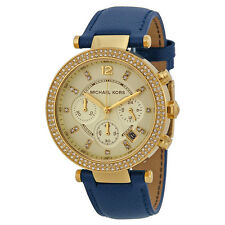 Michael Kors Parker Chronograph Gold-tone Navy Leather Ladies Watch MK2280