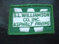 "WILLIAMSON ~ ASPHALT PAVING EMBROIDERED SEW ON ONLY PATCH ADVERTISING 3"" x 2"""