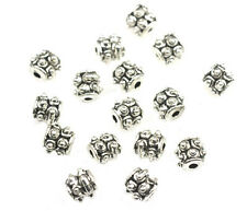 50 ANTIQUED SILVER PLATED BEADED TUBE BEADS 6MM