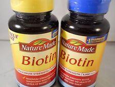 Nature Made Biotin 5,000mcg Maximum Strength 120 cnt each (2pk) fresh & new