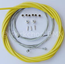 Bicycle 5mm LINED freestyle ACS rotor brake cable kit old school BMX - YELLOW