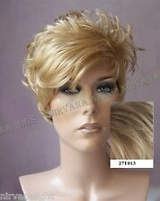 Sandy Blonde w Lighter Tips Short Wet Look Choppy DW1030 27T613 Wig