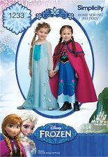 Simplicity SEWING PATTERN 1233 Disney Frozen Costumes,Anna & Elsa Age 3-8