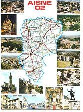 CP 02 AISNE - Multivues avec carte du département