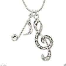 "W Swarovski Crystal Treble Clef Note Song Music Pendant Necklace 18"" Chain Gift"