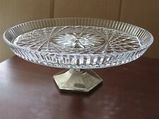 Cake Serving Pedestal Plate Stand Cut Glass Silver