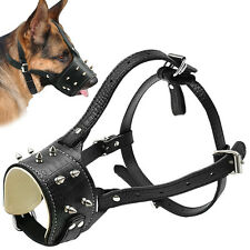 Spiked Studded Leather Dog Muzzle for Terrier Husky Stop Biting Barking Nipping