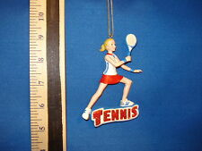 Tennis Ornament Player woman with sign C8387 542