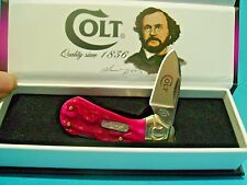 Beautiful Colt pocket knife Lockback Pink Stag handle in case Free Shipping USA