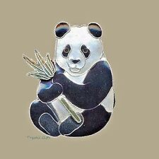 Bamboo Jewelry PANDA PIN Brooch Cloisonne Enamel STERLING BEAR - Gift Boxed
