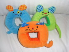 Baby Toys Shapes blue dog green mouse ornage cat stuffed plush crinkle rings