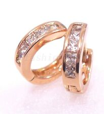 fashion1uk Simulated Diamond Hoop Huggie Earrings Rose Gold Plated Small 13mm