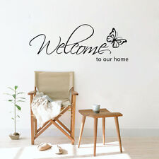 Welcome To Our Home Quote Removable Vinyl Wall Sticker Butterfly Room Decal