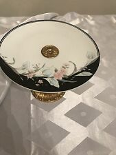 Vintage Black Rhapsody Decorative Plate With Gold Stand. Made in Japan
