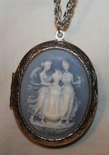 Lovely Blue and White Greek Muses Statues Cameo Silvertn Locket Pendant Necklace