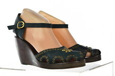 Calleen Cordero Womens Green Studded Wedges Sz 8 Leather Casual Heels Shoes