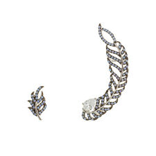 18K W VERMEIL-TearDrop CZ + Turquoise Opal Feather Ear Crawler Earrings/925