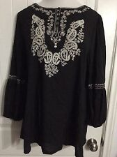 Lady Noiz Beautiful Sleeves Embroidered Paisley Design Tunic Womens Size 1x Top