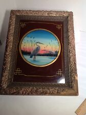 Antique Reverse Painting On Glass Framed Birds Flamingos
