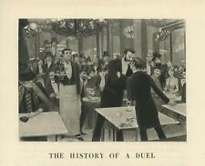 ANTIQUE VICTORIAN RESTAURANT WAITER SERVER HISTORY OF A DUEL MEN SMALL OLD PRINT
