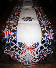 """Vintage American Flag Butterfly Hearts Stars Table Runner 4th of July Decor 68""""L"""