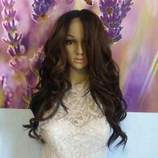 Ombre dark roots to  two shades of browns Lace Front wig heat resistant.