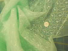2+ yd  SHEER NYLON? LIGHT GREEN EMBROIDERED Sewing Fabric Lot-Children,Doll