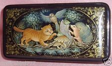"Russian Lacquer box Palekh "" Hedgehog and Cat "" Handmade Hand Painted"