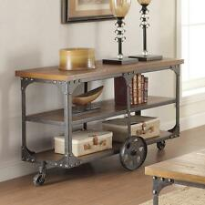 Rustic Console Sofa Table Wheeled Vintage Wood Industrial Style Cart Metal Rolls