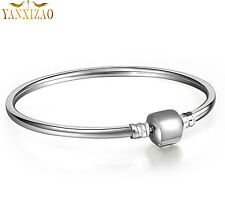 sterling 925  Silver Snake Chain Bracelets Bangle Fit European Beads Charm st1