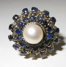 Vintage 14k Yellow Gold Sapphire & Pearl Ballerina Dinner Ring Size 6 3/4.