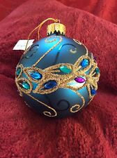 Exceptional NEW Glass MACY'S Bright Blue BALL  Peacock Design Christmas ORNAMENT