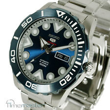 SEIKO 5 SPORTS AUTO STAINLESS STEEL DIVERS STYLE PEARLESCENT BLUE FACE SRPA09K1