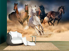 Five Horses Galloping Sand Dust Wall Mural Photo Wallpaper GIANT WALL DECOR