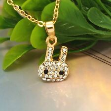 Cute Bunny Pet Head New Rose Gold Jewelry Austrian Crystal Necklace