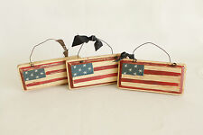 Vintage Wooden American Flag Christmas Ornament Holiday Tree Decoration 5.5x3 In