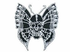 Skull Butterfly Biker Iron On Embroider Shirt Bag Jeans Applique Badge Patch 3""