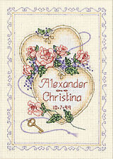 Cross Stitch Mini Kit ~ Dimensions Floral United Hearts Wedding Record #6730