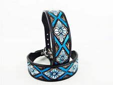 "24"" BLUE NAVAJO PAINTED WESTERN STYLE CUSTOM LEATHER CANINE DOG COLLAR XL LARGE"