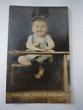 Vintage Postcard Baby Boy with Blue Bib - Let's Get Down to Business real photo