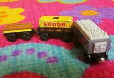 wooden TROUBLESOME TRUCK SODOR CARGO CAR FLATBED fit thomas train tracks