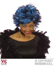 Blue Black Spikey Wig Sharon Orsbourne Punk Rocker Goth Halloween Fancy Dress