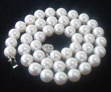"8MM White Akoya shell Pearl Round Beads Flower Clasp Necklace 18"" AAA Grade"