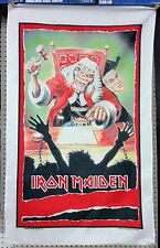 VINTAGE IRON MAIDEN BANNER FLAG NIKRY HEAVY METAL FIRST 10 YEARS EDDIE 1990 NOS