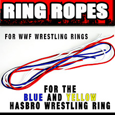 ♛ COLORED RING ROPES FOR BLUE & YELLOW HASRBO WRESTLING RING - RINGSEILE MATTEL