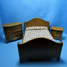 Dollhouse Miniature Walnut Bedroom Set with Bed, Dresser and NIghtstand ~ T0502