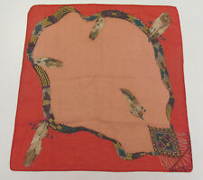 VINTAGE 1960s SOUTHWESTERN HANDKERCHIEF FEATHERS BEADS RED